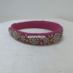 Maggam Work Broad Hair Band-Magenta-Sitarini-SMBHB106