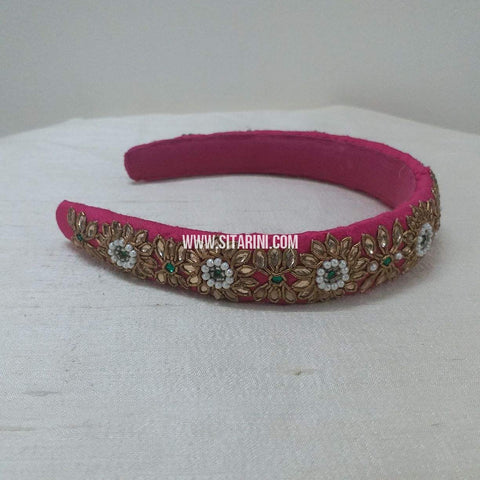 Maggam Work Broad Hair Band-Pink-Sitarini-SMBHB107