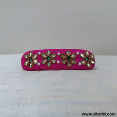 Maggam Work Hair Clips-Baby Pink-Sitarini