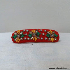 Maggam Work Hair Clips-Red-Sitarini