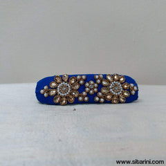 Maggam Work Hair Clips-Royal Blue-Sitarini