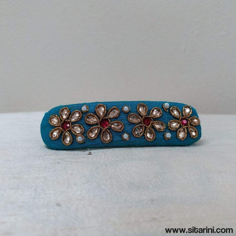 Maggam Work Hair Clips-Sky Blue-Sitarini
