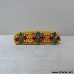 Maggam Work Hair Clips-Yellow-Sitarini