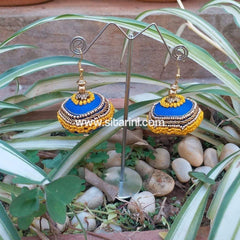 Maggam Work Jhumkas-Light Blue-Sitarini-SMWJ103