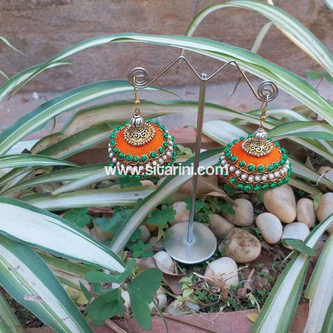 Maggam Work Jhumkas-Orange-Sitarini-SMWJ104