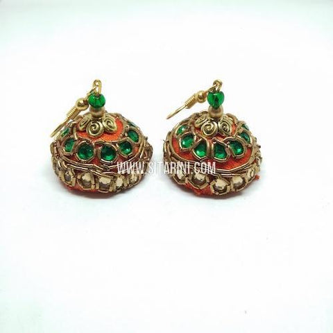 Maggam Work Jhumkas-Orange-Sitarini-SMWJ154
