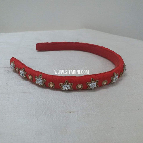 Maggam Work Medium Hair Band-Red-Sitarini-SMMHB102
