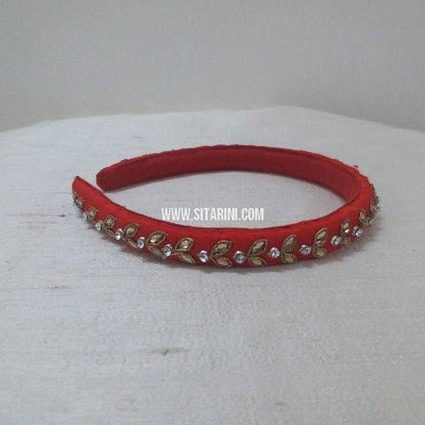 Maggam Work Medium Hair Band-Red-Sitarini-SMMHB109