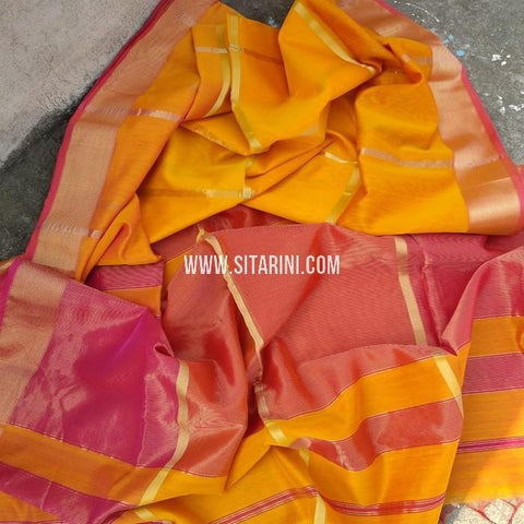 Maheshwari Cotton Silk Saree-Mango Yellow-Sitarini-SITMCSS110