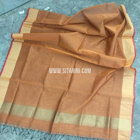 Maheshwari Silk Cotton Dupatta-Brown-Sitarini-SITMCSD119