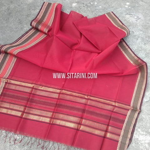 Maheshwari Silk Cotton Dupatta-Red-Sitarini-SITMCSD109