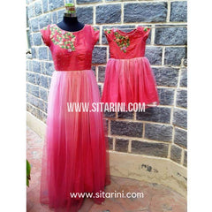 Mom and Daughter Matching Dress-Pink-Sitarini-SMD101