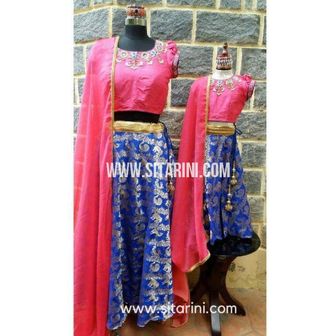 Mom and Daughter Matching Dress-Royal Blue-Sitarini-SMD102
