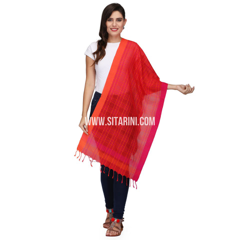 Muslin Cotton Dupatta with Checks-Red-Sitarini-LWTCD136