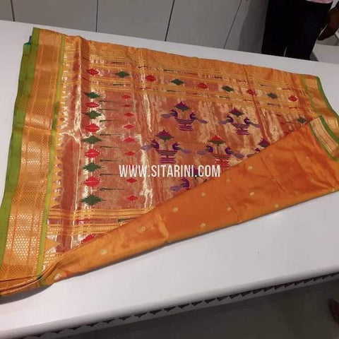 Paithani Pattu Saree-Orange-Sitarini-SITPSS225