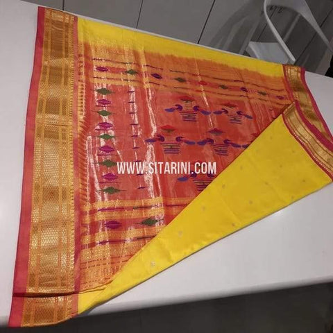 Paithani Pattu Saree-Yellow-Sitarini-SIPSS228