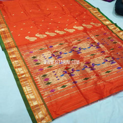 Paithani Saree-Silk-Orange-Sitarini-SITPSS268
