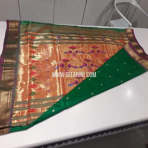 Paithani Silk Saree-Bottle Green-Sitarini-SITPSS235