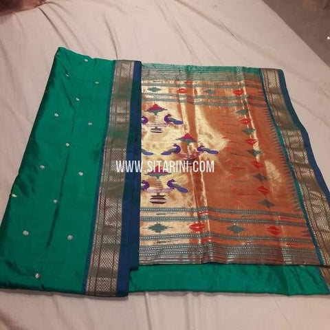 Paithani Silk Saree-Bottle Green-Sitarini-SITPSS236