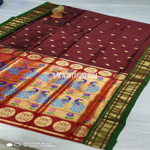 Paithani Silk Saree-Brown-Sitarini-SITPSS101