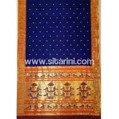 Paithani Silk Saree-Dark Blue-Sitarini