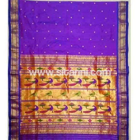 Paithani Silk Saree-Dark Purple-Sitarini