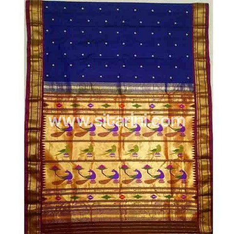Paithani Silk Saree-Navy Blue-Sitarini