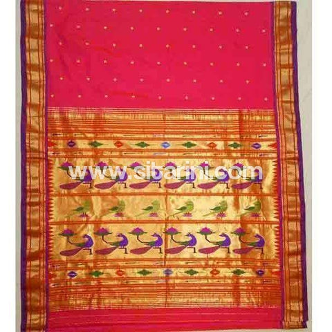 Paithani Silk Saree-Red-Sitarini