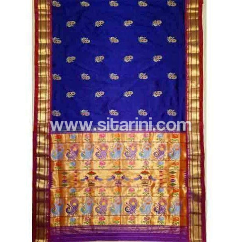Paithani Silk Saree-Royal Blue-Sitarini