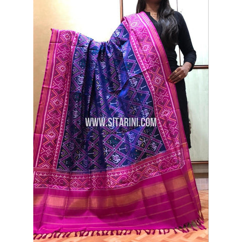 Patola Dupatta-Double Ikkat-Pattu-Blue and Pink-Sitarini-SITPAD191