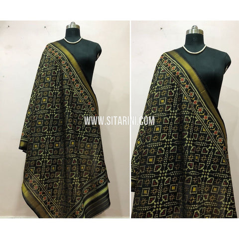 Patola Dupatta-Single Ikkat-Pattu-Black-Sitarini-SITPAD172
