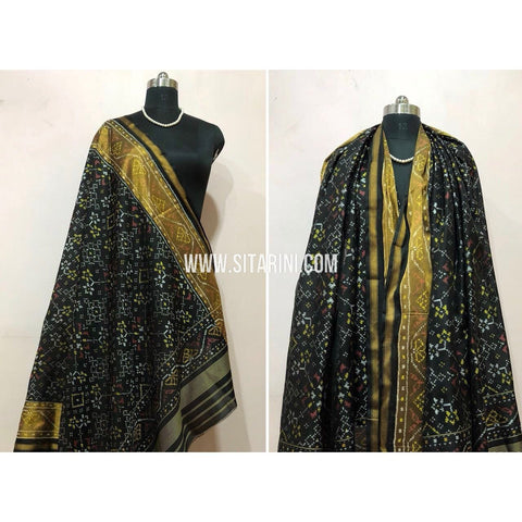 Patola Dupatta-Single Ikkat-Pattu-Black-Sitarini-SITPAD176