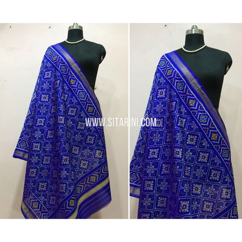 Patola Dupatta-Single Ikkat-Pattu-Blue-Sitarini-SITPAD149