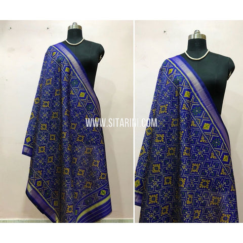Patola Dupatta-Single Ikkat-Pattu-Blue-Sitarini-SITPAD175