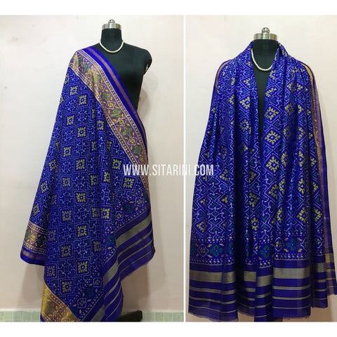 Patola Dupatta-Single Ikkat-Pattu-Blue-Sitarini-SITPAD188