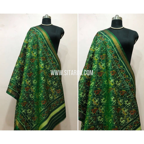 Patola Dupatta-Single Ikkat-Pattu-Green-Sitarini-SITPAD157