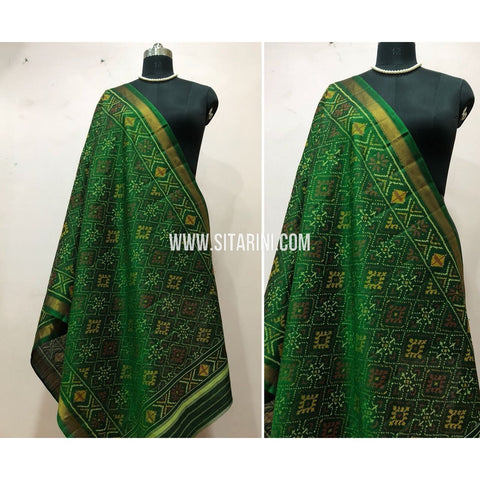 Patola Dupatta-Single Ikkat-Pattu-Green-Sitarini-SITPAD161