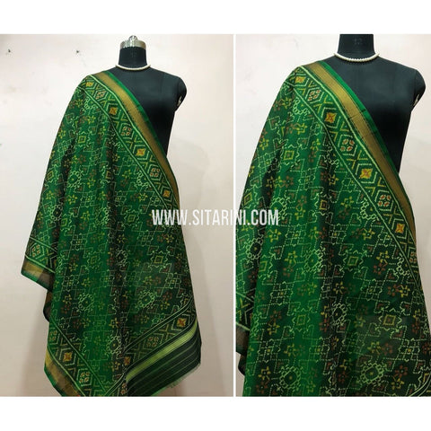 Patola Dupatta-Single Ikkat-Pattu-Green-Sitarini-SITPAD162