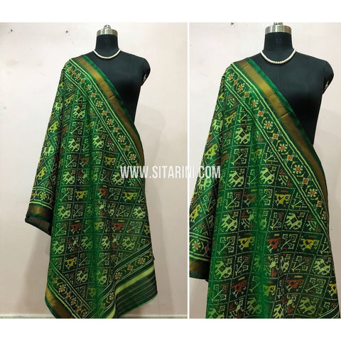 Patola Dupatta-Single Ikkat-Pattu-Green-Sitarini-SITPAD163