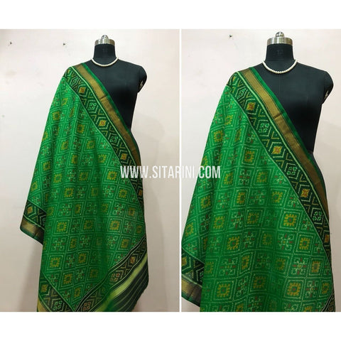 Patola Dupatta-Single Ikkat-Pattu-Green-Sitarini-SITPAD168