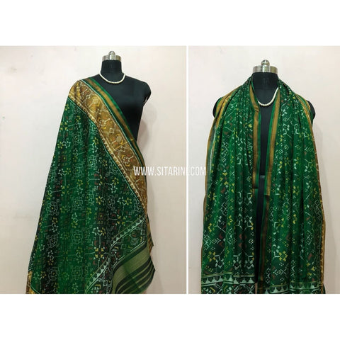 Patola Dupatta-Single Ikkat-Pattu-Green-Sitarini-SITPAD178