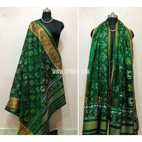 Patola Dupatta-Single Ikkat-Pattu-Green-Sitarini-SITPAD179