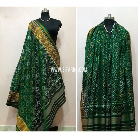 Patola Dupatta-Single Ikkat-Pattu-Green-Sitarini-SITPAD180