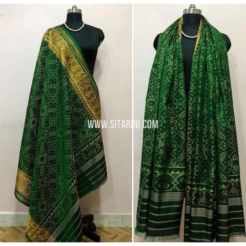 Patola Dupatta-Single Ikkat-Pattu-Green-Sitarini-SITPAD181