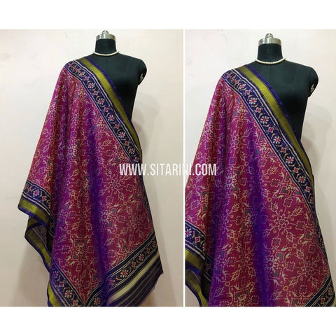 Patola Dupatta-Single Ikkat-Pattu-Magenta and Navyblue-Sitarini-SITPAD154