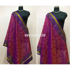 Patola Dupatta-Single Ikkat-Pattu-Magenta and Purple-Sitarini-SITPAD143