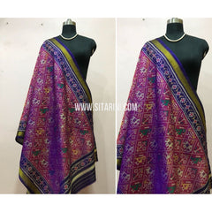 Patola Dupatta-Single Ikkat-Pattu-Magenta and Violet-Sitarini-SITPAD170
