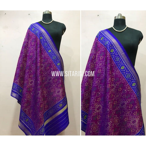 Patola Dupatta-Single Ikkat-Pattu-Magenta and Violet-Sitarini-SITPAD171