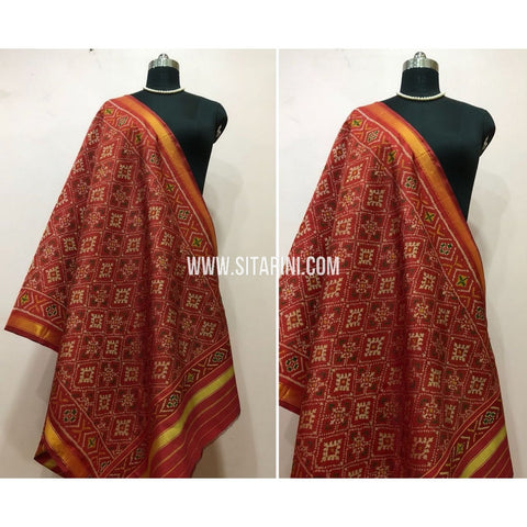 Patola Dupatta-Single Ikkat-Pattu-Multicolor-Sitarini-SITPAD155