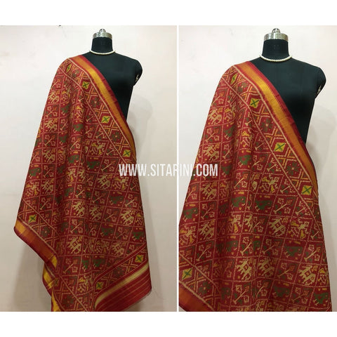 Patola Dupatta-Single Ikkat-Pattu-Multicolor-Sitarini-SITPAD156